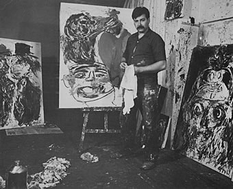 Karel Appel in seinem Atelier in der Rue Brézin, Paris, 1961