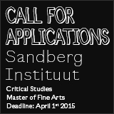 Call for applications Critical Studies MFA, Sandberg Instituut
