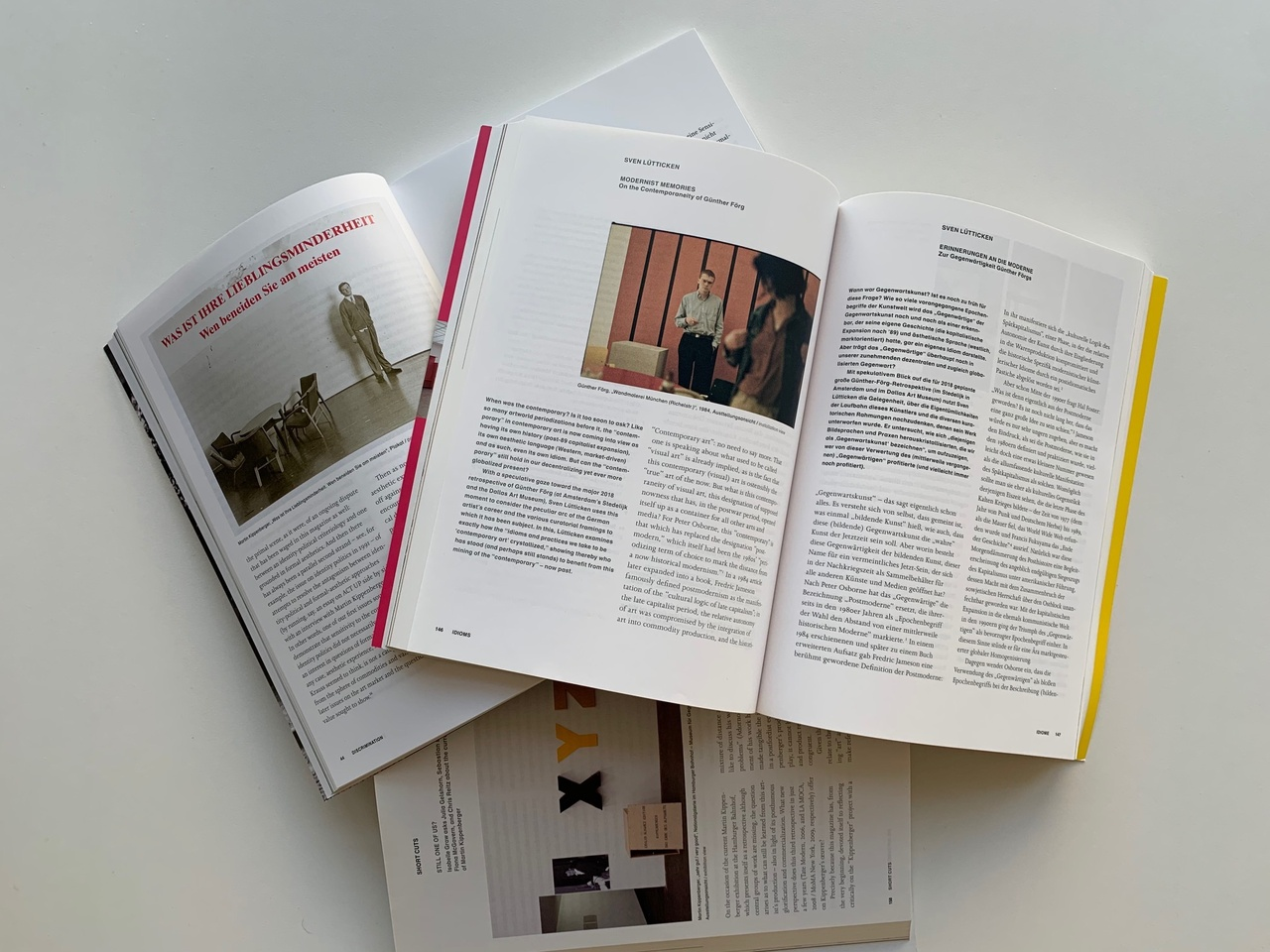 "Texte zur Kunst, Artikel: ""Sven Lütticken: Zur Gegenwärtigkeit Günther Förgs"" (Heft 108), ""Isabelle Graw befragt Julia Gelshorn, Sebastian Egenhofer, Fiona McGovern und Chris Reitz zur Aktuellen Rezeption Martin Kippenbergers"" (Heft 90), ""Sabeth Buchmann und Isabelle Graw: Kritik der Kunstkritik"" (Heft 113) /  ""Sven Lütticken: On the Contemporaneity of Günther Förg,"" (issue 108),""Isabelle Graw asks Julia Gelshorn, Sebastian Egenhofer, Fiona McGovern, and Chris Reitz about the current reception of Martin Kippenberger,"" (issue 90), ""Sabeth Buchmann and Isabelle Graw: The Critique of Art Criticism,"" (issue 113)"