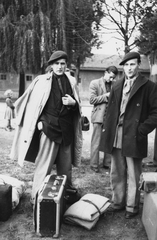 Jonas Mekas (right) and brother Adolfas, 1949.
