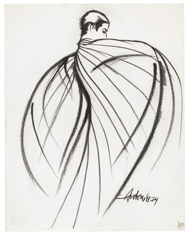 "Antonio Lopez, ""Charles James Ribbon Cape Drawing 1"", 1974"