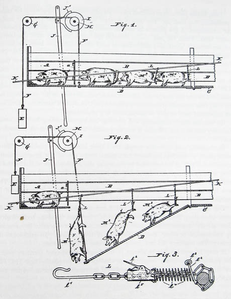 """Apparatus for Catching and Suspending Hogs. 1882. 'The hog M acts as a decoy for the others, and much time and labor are thus saved.' (U.S. Patent 252,112, 10 January, 1882)"", aus ""Mechanization Takes Command"" (Sigfried Giedion, 1948, auf dt.: ""Herrschaft der Mechanisierung"", 1982)"
