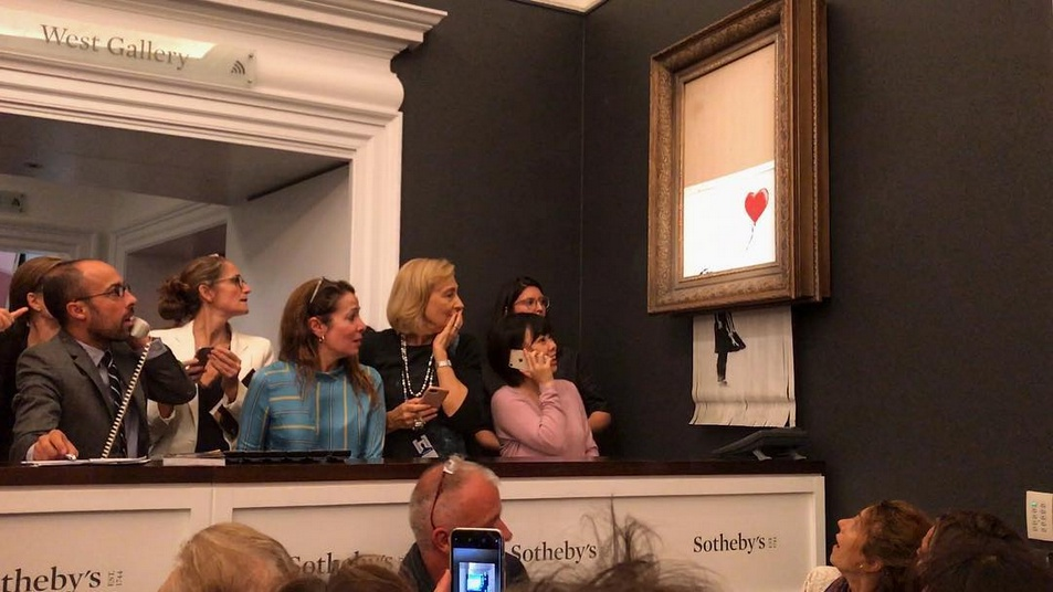 "Banksy, Auktion von ""Love is in the Bin"", Sotheby's, London, 2018"